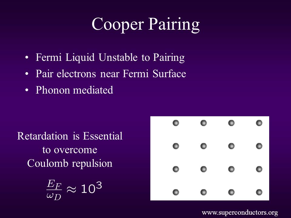 Cooper Pairing Fermi Liquid Unstable to Pairing Pair electrons near Fermi Surface Phonon mediated www.superconductors.org Retardation is Essential to overcome Coulomb repulsion