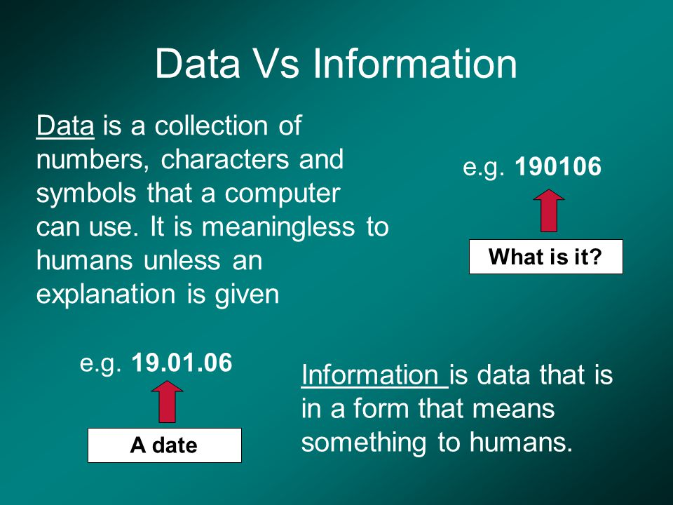 Data Vs Information Data is a collection of numbers, characters and symbols that a computer can use.