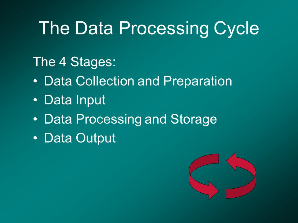The Data Processing Cycle The 4 Stages: Data Collection and Preparation Data Input Data Processing and Storage Data Output