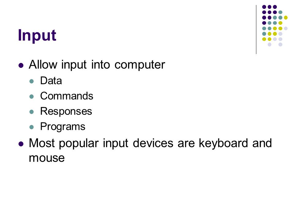 Input Allow input into computer Data Commands Responses Programs Most popular input devices are keyboard and mouse