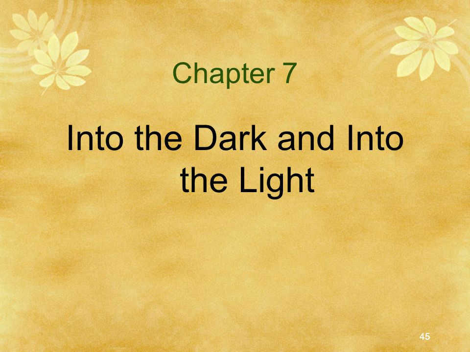 45 Chapter 7 Into the Dark and Into the Light