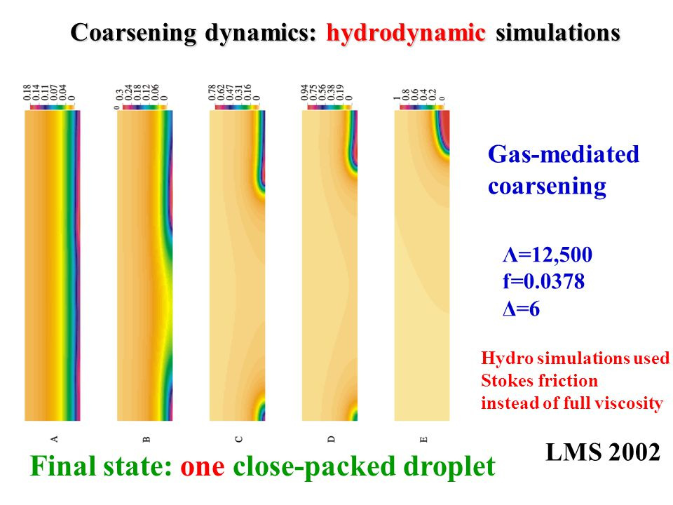 Coarsening dynamics: hydrodynamic simulations Λ=12,500 f=0.0378 Δ=6 Final state: one close-packed droplet LMS 2002 Gas-mediated coarsening Hydro simulations used Stokes friction instead of full viscosity