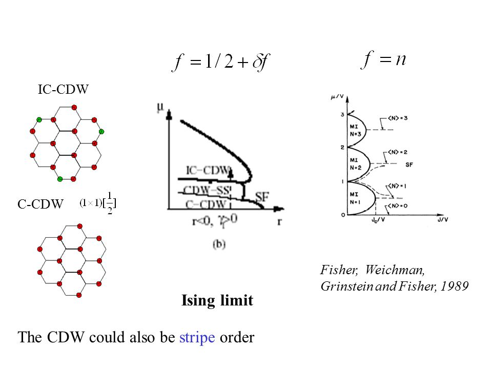 Ising limit C-CDW Fisher, Weichman, Grinstein and Fisher, 1989 IC-CDW The CDW could also be stripe order