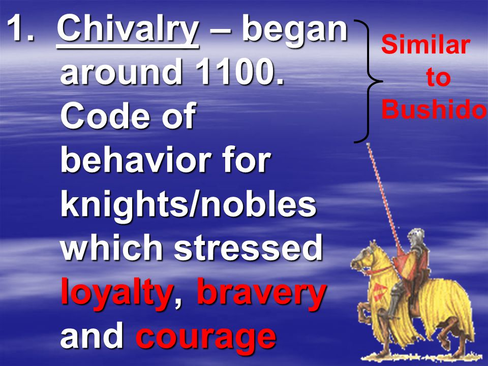 1. Chivalry – began around 1100.