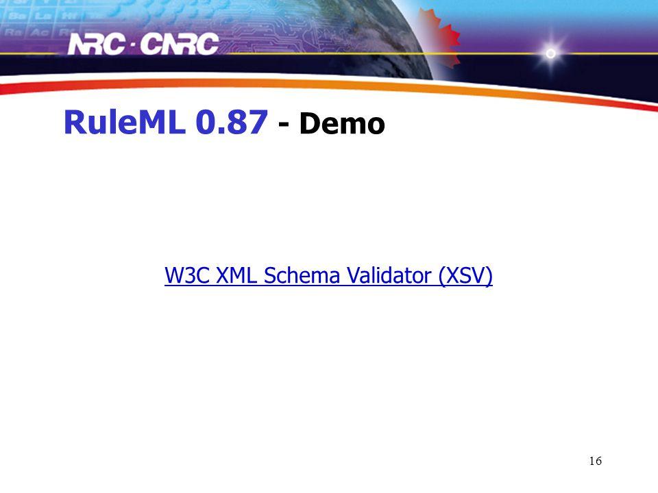 16 RuleML 0.87 - Demo W3C XML Schema Validator (XSV)
