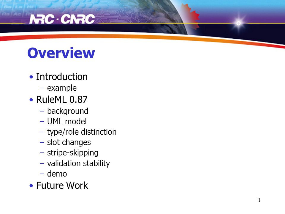 1 Overview Introduction –example RuleML 0.87 –background –UML model –type/role distinction –slot changes –stripe-skipping –validation stability –demo Future Work
