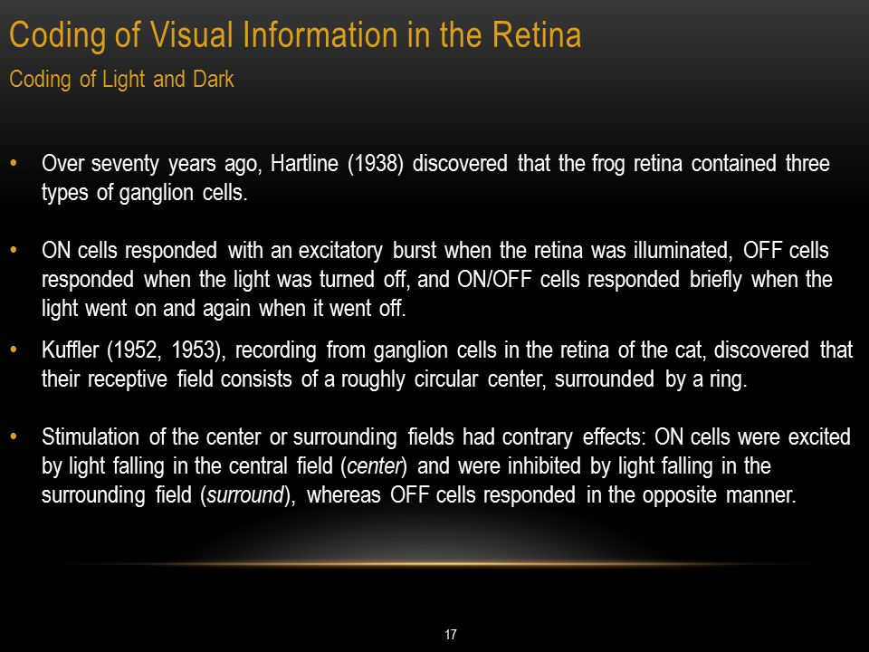 Coding of Visual Information in the Retina 17 Coding of Light and Dark Over seventy years ago, Hartline (1938) discovered that the frog retina contain