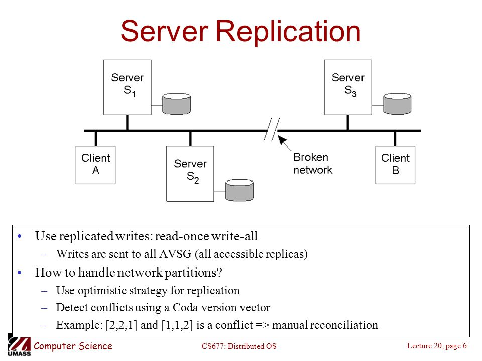 Computer Science Lecture 20, page 6 CS677: Distributed OS Server Replication Use replicated writes: read-once write-all –Writes are sent to all AVSG (all accessible replicas) How to handle network partitions.