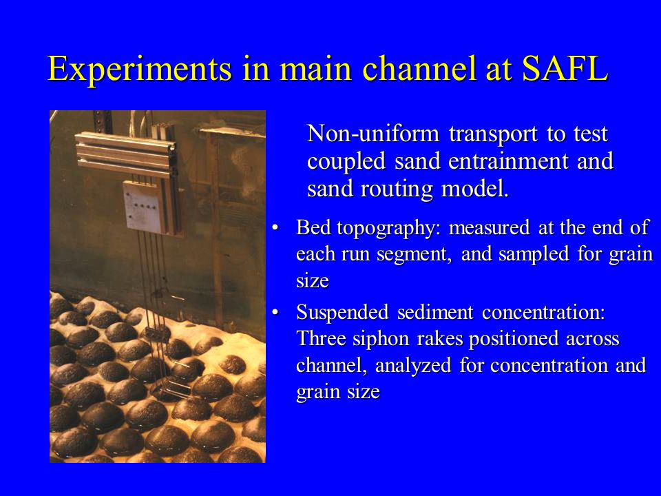 Non-uniform transport to test coupled sand entrainment and sand routing model.