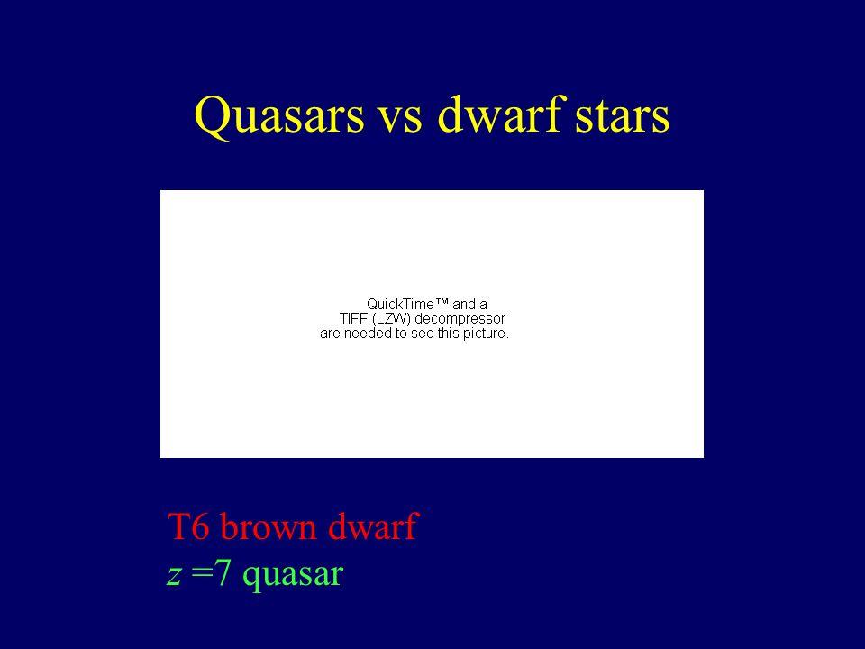 T6 brown dwarf z =7 quasar Quasars vs dwarf stars