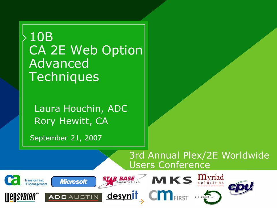 2September 21, 2007 CA 2E Web Option Advanced Techniques Copyright © 2007 CA Biography - Laura Houchin >Laura Houchin >Software Architect - CA >Lead developer of 2E Development team >lhouchin@adcaustin.com >Other facts  Live in St.