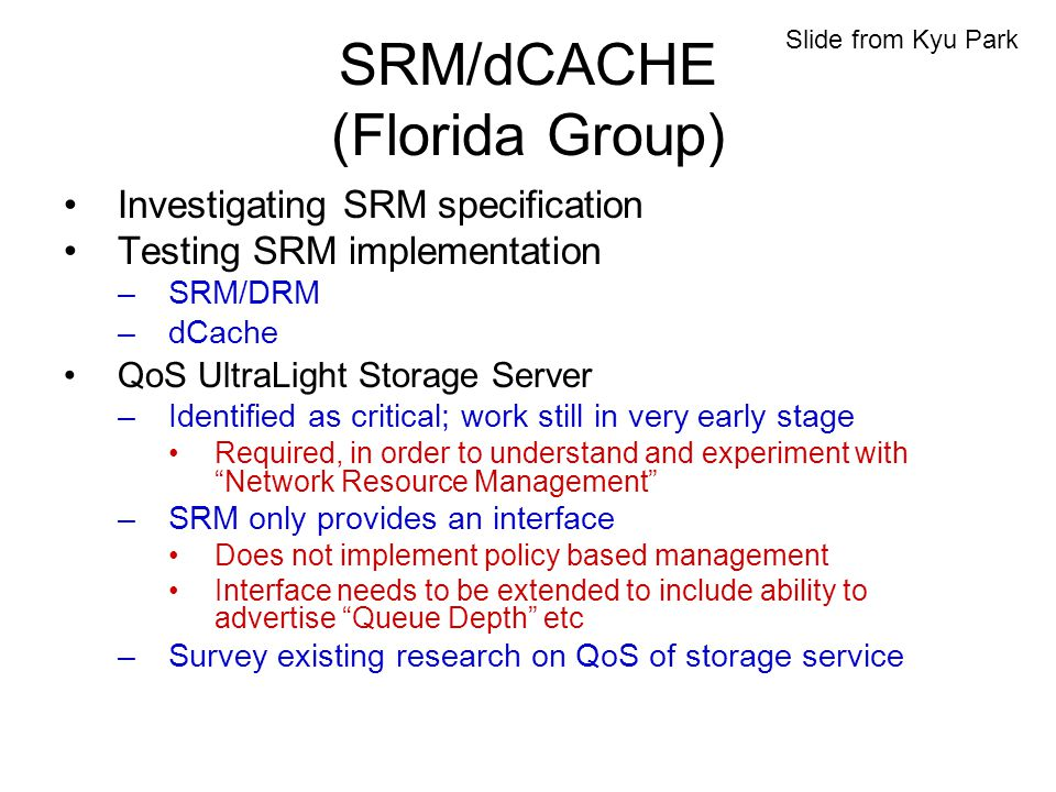 SRM/dCACHE (Florida Group) Investigating SRM specification Testing SRM implementation –SRM/DRM –dCache QoS UltraLight Storage Server –Identified as critical; work still in very early stage Required, in order to understand and experiment with Network Resource Management –SRM only provides an interface Does not implement policy based management Interface needs to be extended to include ability to advertise Queue Depth etc –Survey existing research on QoS of storage service Slide from Kyu Park