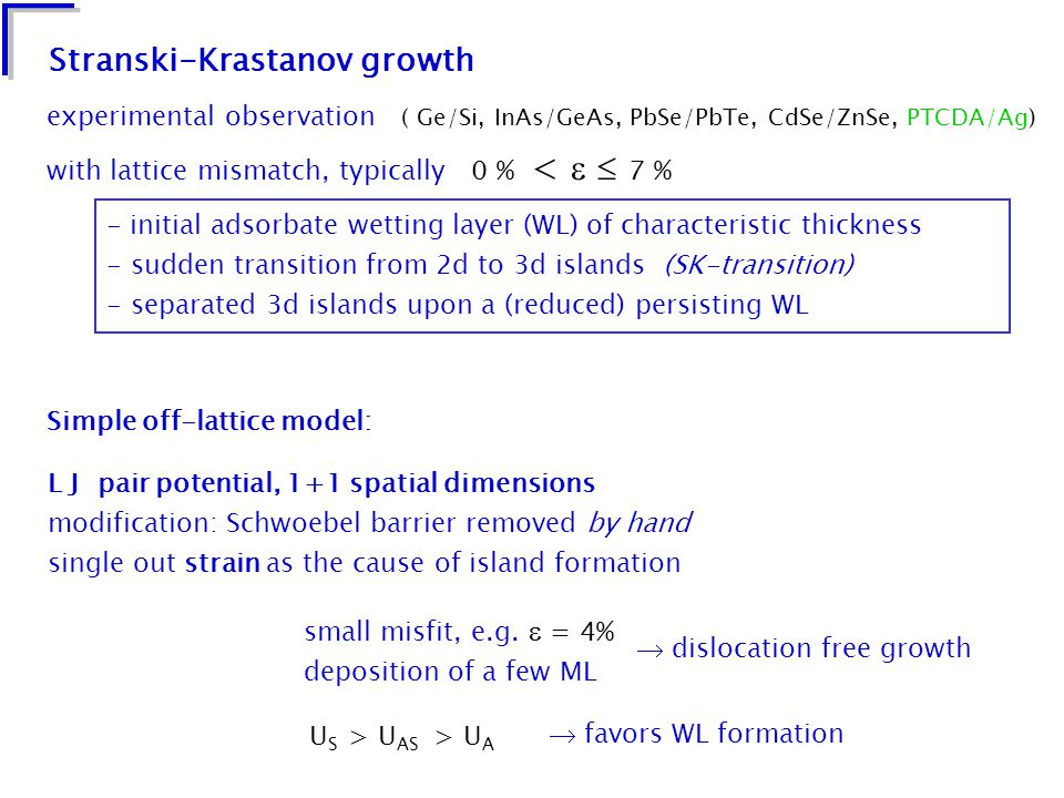 Stranski-Krastanov growth experimental observation ( Ge/Si, InAs/GeAs, PbSe/PbTe, CdSe/ZnSe, PTCDA/Ag) with lattice mismatch, typically 0 % <   7 % - initial adsorbate wetting layer (WL) of characteristic thickness - sudden transition from 2d to 3d islands (SK-transition) - separated 3d islands upon a (reduced) persisting WL L J pair potential, 1+1 spatial dimensions modification: Schwoebel barrier removed by hand single out strain as the cause of island formation small misfit, e.g.