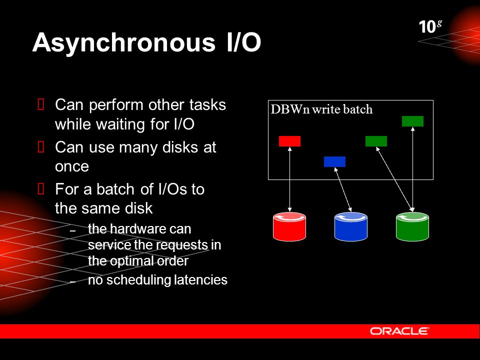 Asynchronous I/O  Can perform other tasks while waiting for I/O  Can use many disks at once  For a batch of I/Os to the same disk – the hardware can service the requests in the optimal order – no scheduling latencies DBWn write batch