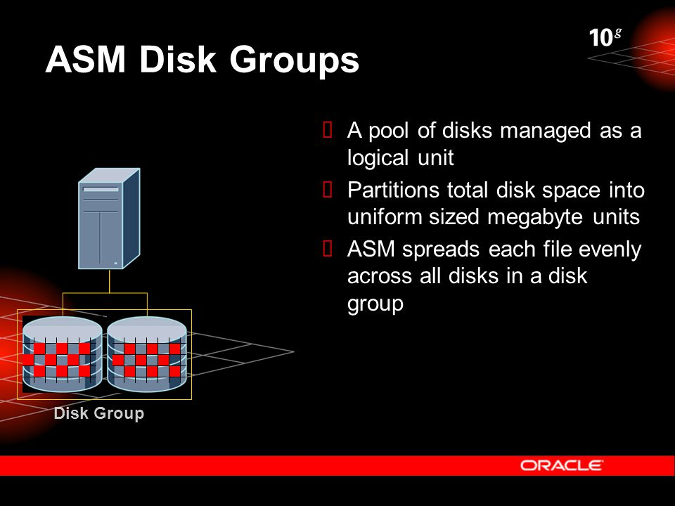 ASM Disk Groups Disk Group  A pool of disks managed as a logical unit  Partitions total disk space into uniform sized megabyte units  ASM spreads e