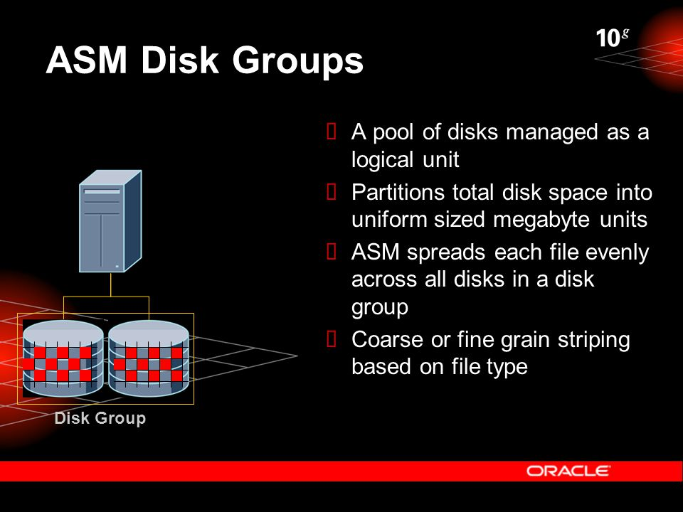 ASM Disk Groups Disk Group  A pool of disks managed as a logical unit  Partitions total disk space into uniform sized megabyte units  ASM spreads each file evenly across all disks in a disk group  Coarse or fine grain striping based on file type