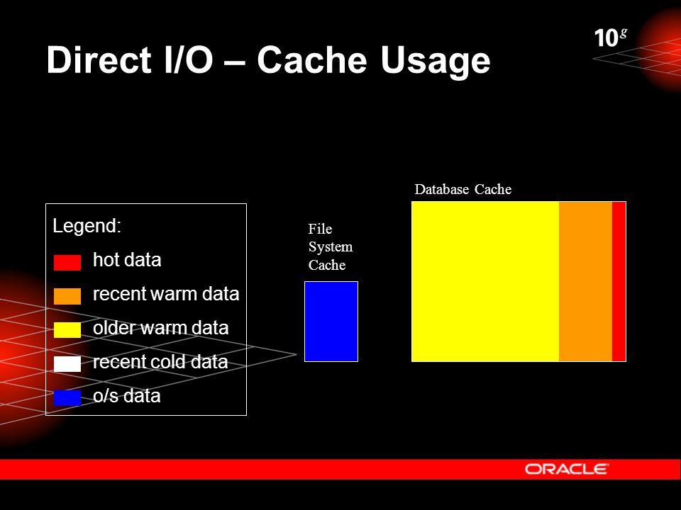 Direct I/O – Cache Usage File System Cache Database Cache Legend: hot data recent warm data older warm data recent cold data o/s data