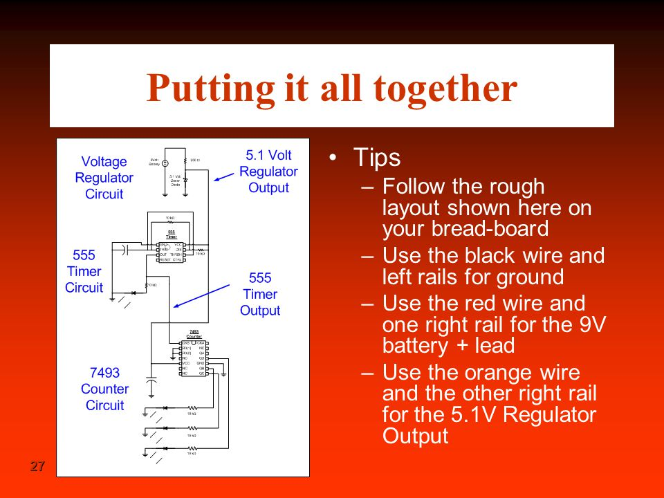 27 Putting it all together Tips –Follow the rough layout shown here on your bread-board –Use the black wire and left rails for ground –Use the red wir
