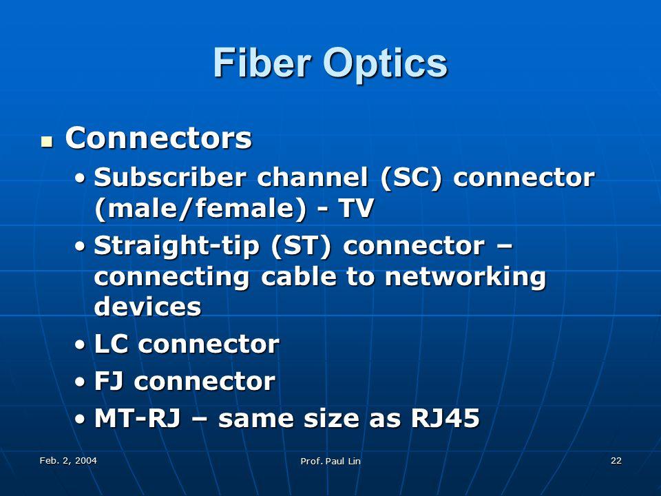 Feb. 2, 2004 Prof. Paul Lin 22 Fiber Optics Connectors Connectors Subscriber channel (SC) connector (male/female) - TVSubscriber channel (SC) connecto