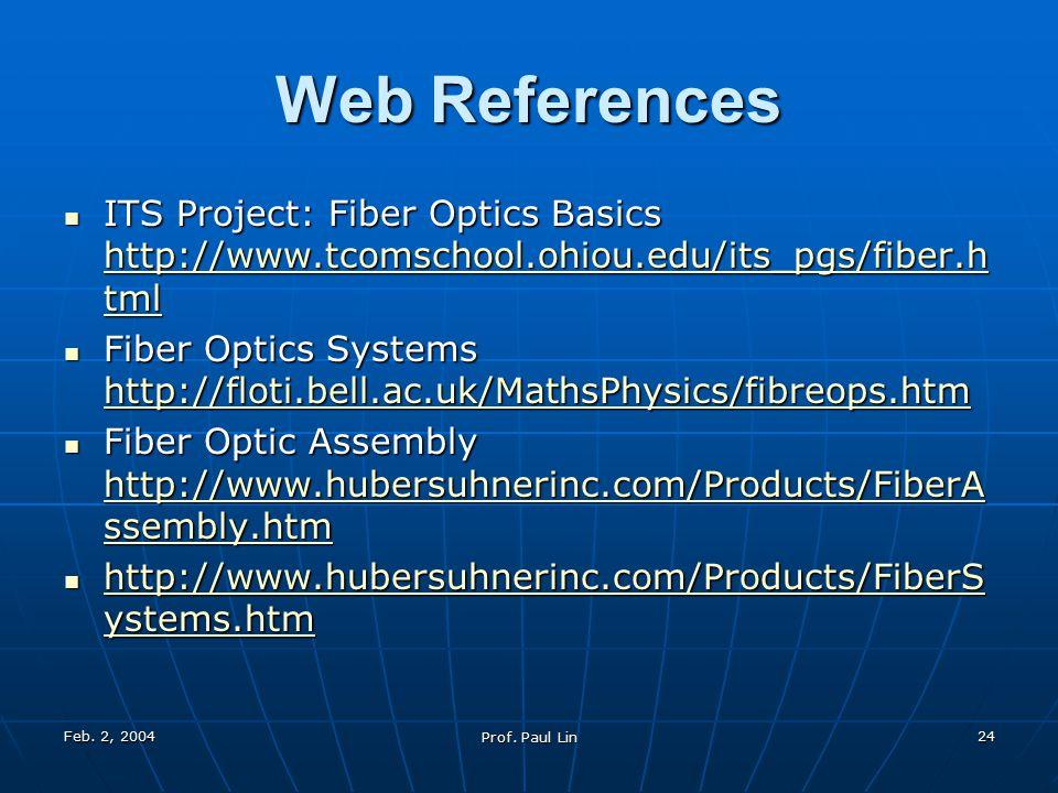 Feb. 2, 2004 Prof. Paul Lin 24 Web References ITS Project: Fiber Optics Basics http://www.tcomschool.ohiou.edu/its_pgs/fiber.h tml ITS Project: Fiber