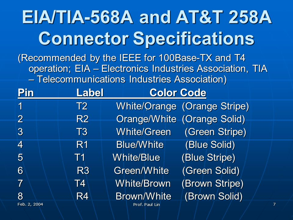 Feb. 2, 2004 Prof. Paul Lin 7 EIA/TIA-568A and AT&T 258A Connector Specifications (Recommended by the IEEE for 100Base-TX and T4 operation; EIA – Elec