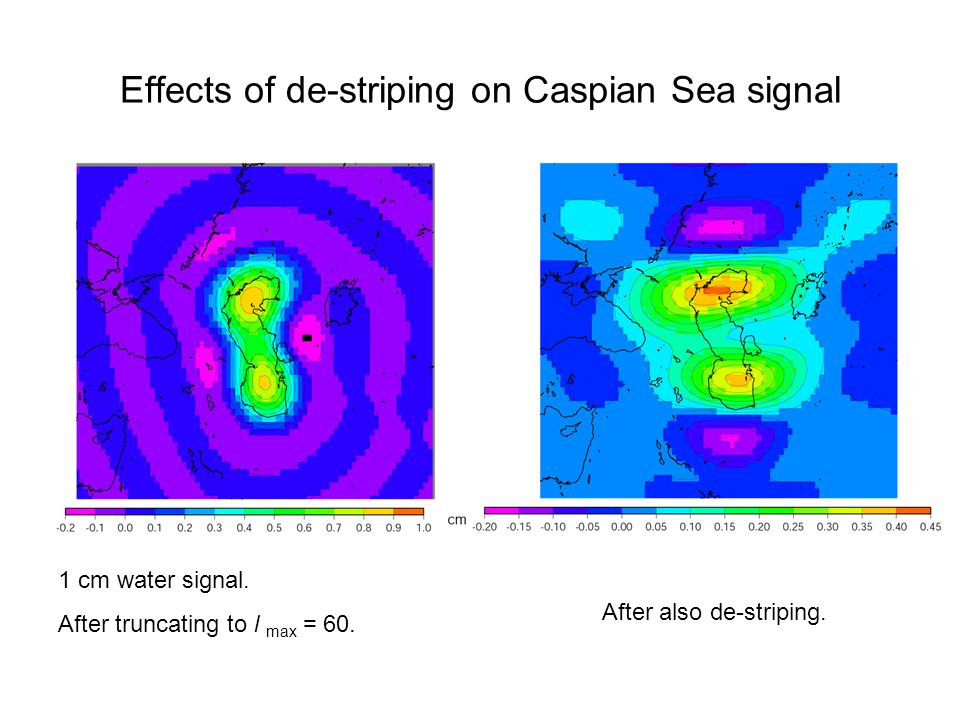 Effects of de-striping on Caspian Sea signal 1 cm water signal. After truncating to l max = 60. After also de-striping.