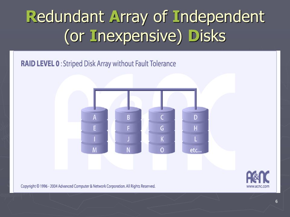 6 Redundant Array of Independent (or Inexpensive) Disks