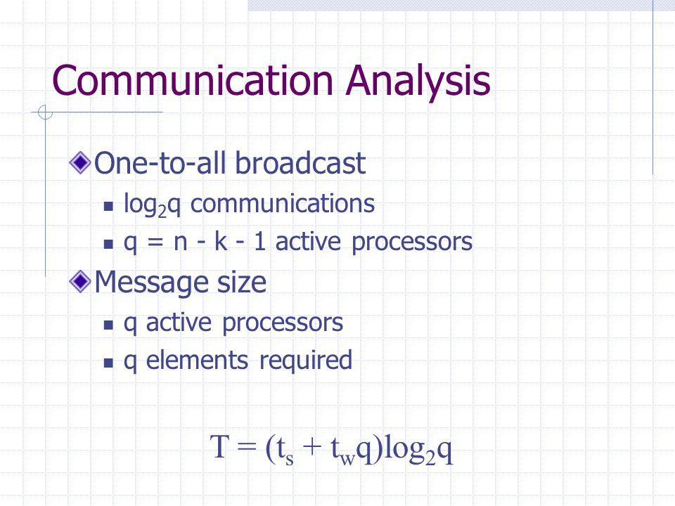Communication Analysis One-to-all broadcast log 2 q communications q = n - k - 1 active processors Message size q active processors q elements required T = (t s + t w q)log 2 q