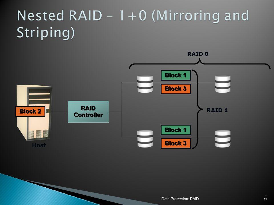 Data Protection: RAID - 17 Host Block 3 Block 1 RAID 1 Block 0 Block 1 RAID 0 Block 2 RAID Controller
