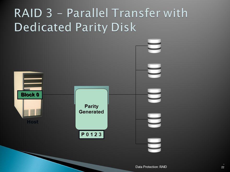 Data Protection: RAID - 22 Host RAID Controller Block 1 Block 2 Block 3 P 0 1 2 3 Block 0 Block 3 Block 2 Block 1 Block 0 Parity Generated