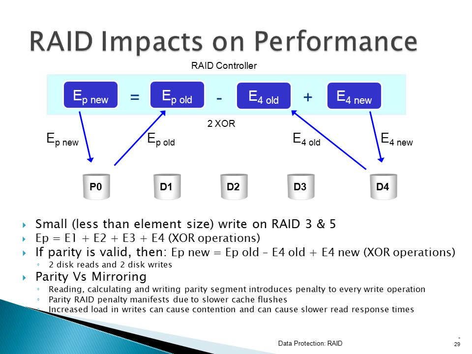  Small (less than element size) write on RAID 3 & 5  Ep = E1 + E2 + E3 + E4 (XOR operations)  If parity is valid, then: Ep new = Ep old – E4 old + E4 new (XOR operations) ◦ 2 disk reads and 2 disk writes  Parity Vs Mirroring ◦ Reading, calculating and writing parity segment introduces penalty to every write operation ◦ Parity RAID penalty manifests due to slower cache flushes ◦ Increased load in writes can cause contention and can cause slower read response times Data Protection: RAID - 29 E p new RAID Controller 2 XOR E p new E p old E 4 old E 4 new +-= E 4 old E p old E 4 new P0D1D2D3D4