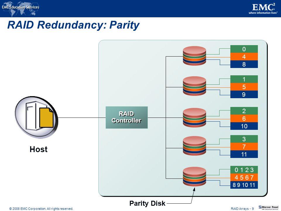 © 2008 EMC Corporation. All rights reserved. RAID Arrays - 9 RAID Redundancy: Parity Parity Disk 0 8 4 1 9 5 2 10 6 3 11 7 0 1 2 3 8 9 10 11 4 5 6 7 R