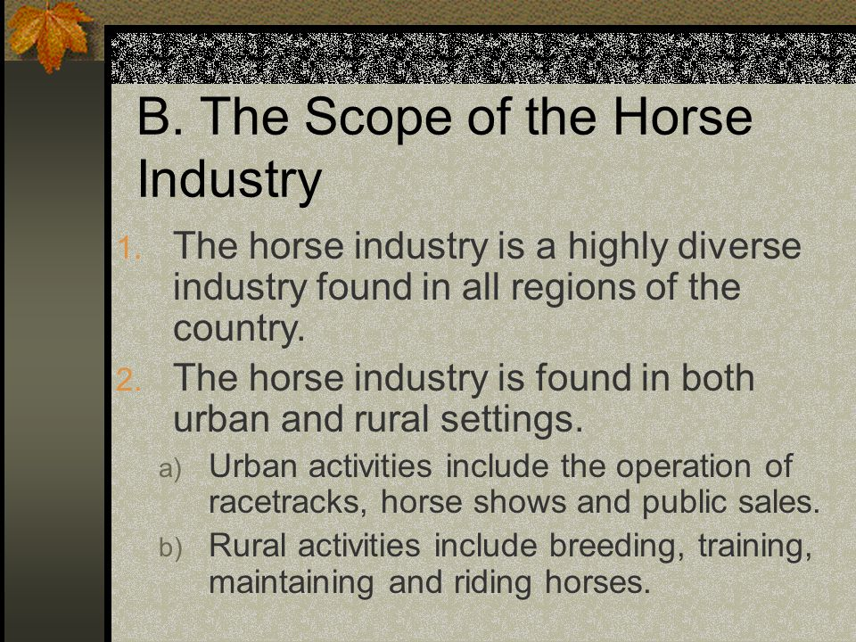 B.The Scope of the Horse Industry 1.