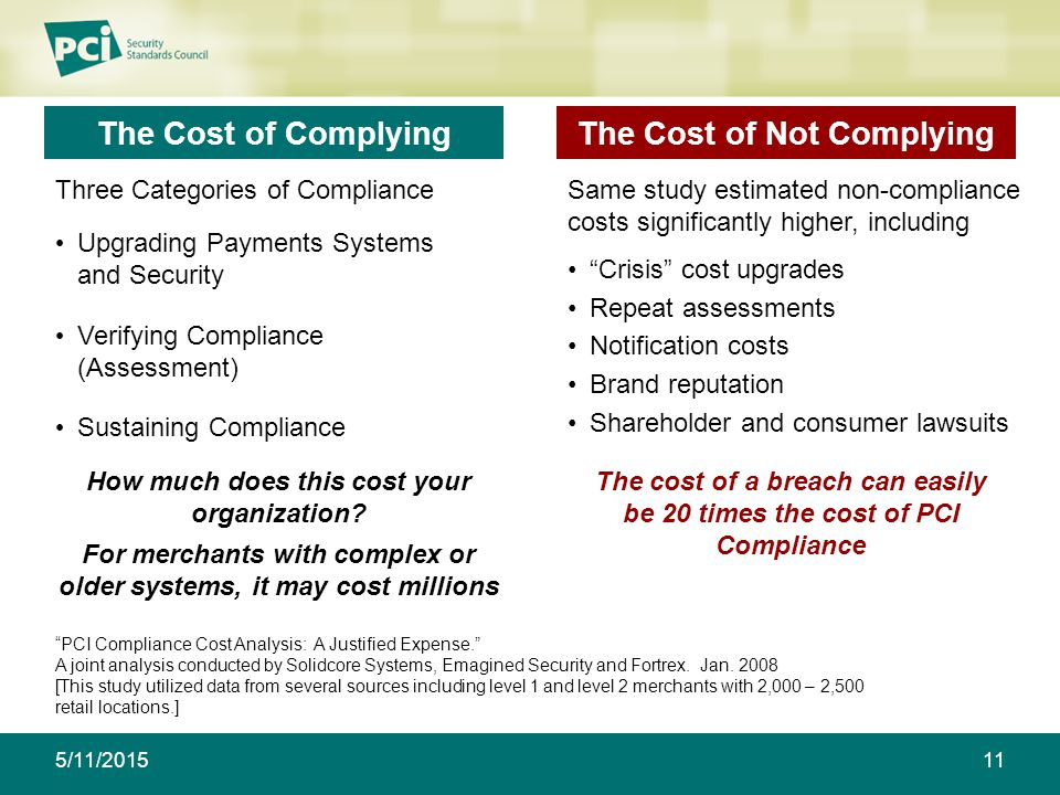 The Cost of Complying Three Categories of Compliance How much does this cost your organization.