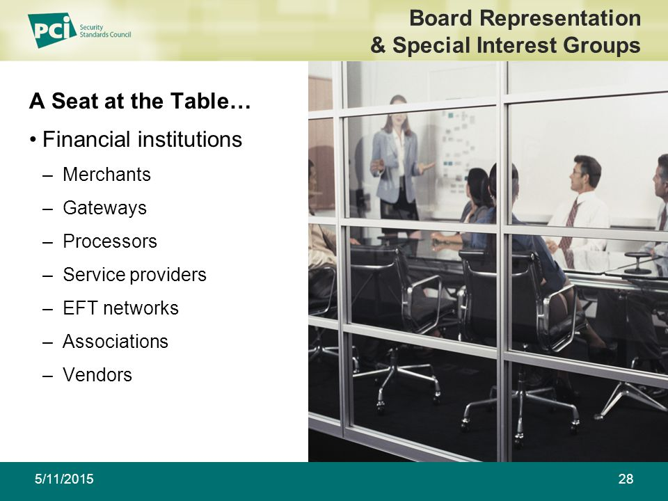 5/11/201528 Board Representation & Special Interest Groups A Seat at the Table… Financial institutions –Merchants –Gateways –Processors –Service providers –EFT networks –Associations –Vendors