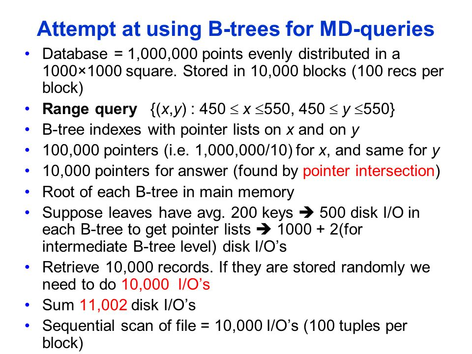 Attempt at using B-trees for MD-queries Database = 1,000,000 points evenly distributed in a 1000×1000 square. Stored in 10,000 blocks (100 recs per bl