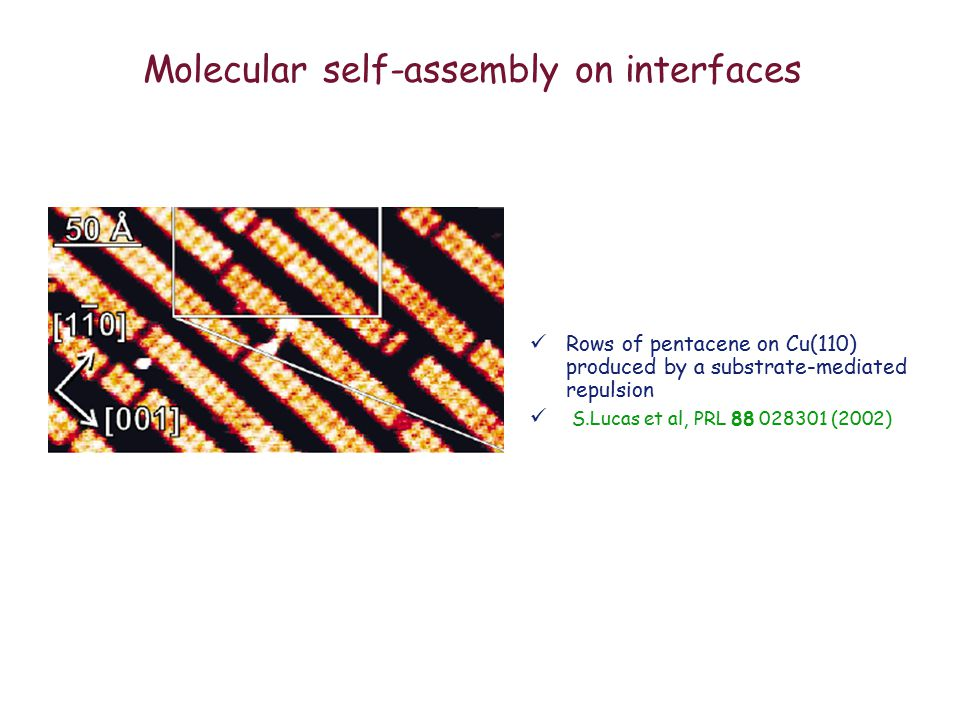 Molecular self-assembly on interfaces Rows of pentacene on Cu(110) produced by a substrate-mediated repulsion S.Lucas et al, PRL 88 028301 (2002)
