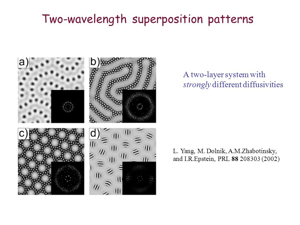 Two-wavelength superposition patterns A two-layer system with strongly different diffusivities L.