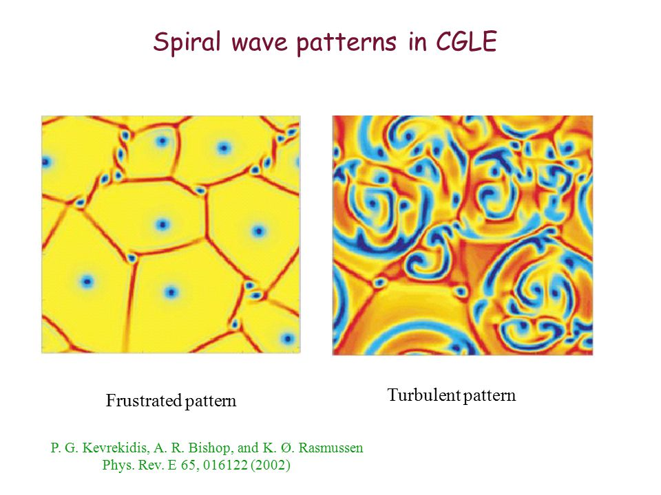 Spiral wave patterns in CGLE Frustrated pattern Turbulent pattern P.