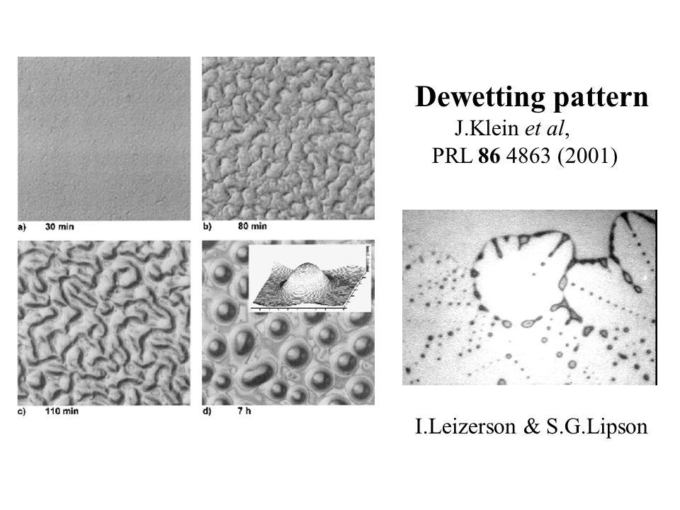 Dewetting pattern J.Klein et al, PRL 86 4863 (2001) I.Leizerson & S.G.Lipson
