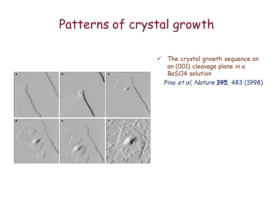 Patterns of crystal growth The crystal growth sequence on an (001) cleavage plane in a BaSO4 solution Pina et al, Nature 395, 483 (1998)