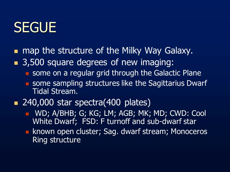 SEGUE map the structure of the Milky Way Galaxy.