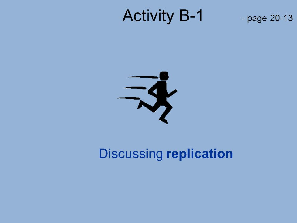Activity B-1 - page 20-13 Discussing replication