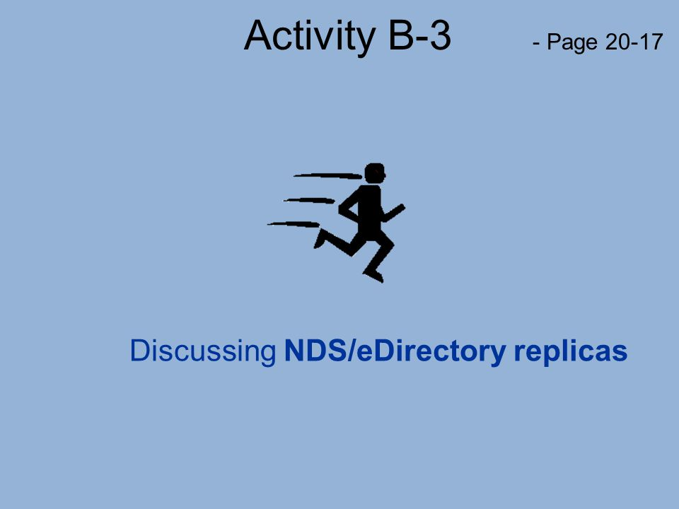 Activity B-3 - Page 20-17 Discussing NDS/eDirectory replicas
