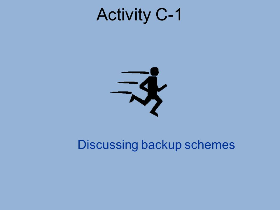 Activity C-1 Discussing backup schemes