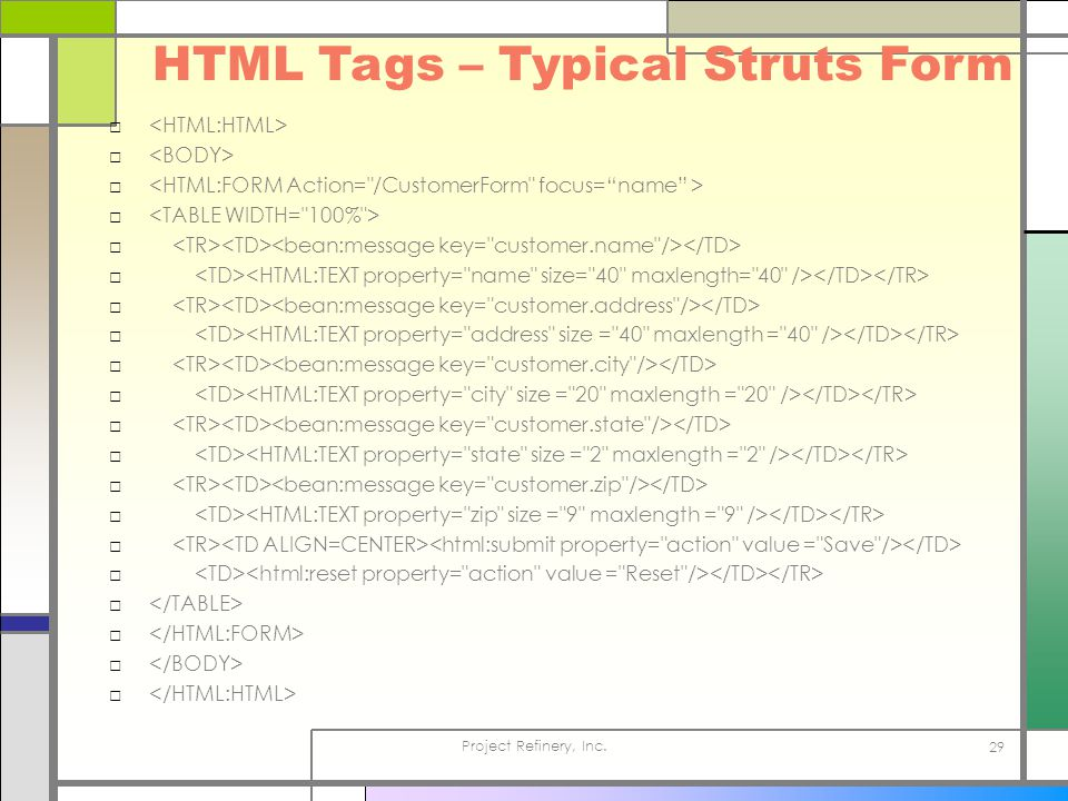 Project Refinery, Inc. 29 HTML Tags – Typical Struts Form □