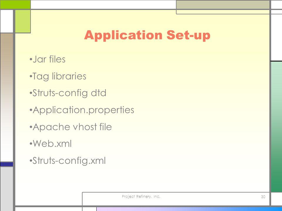Project Refinery, Inc. 30 Application Set-up Jar files Tag libraries Struts-config dtd Application.properties Apache vhost file Web.xml Struts-config.