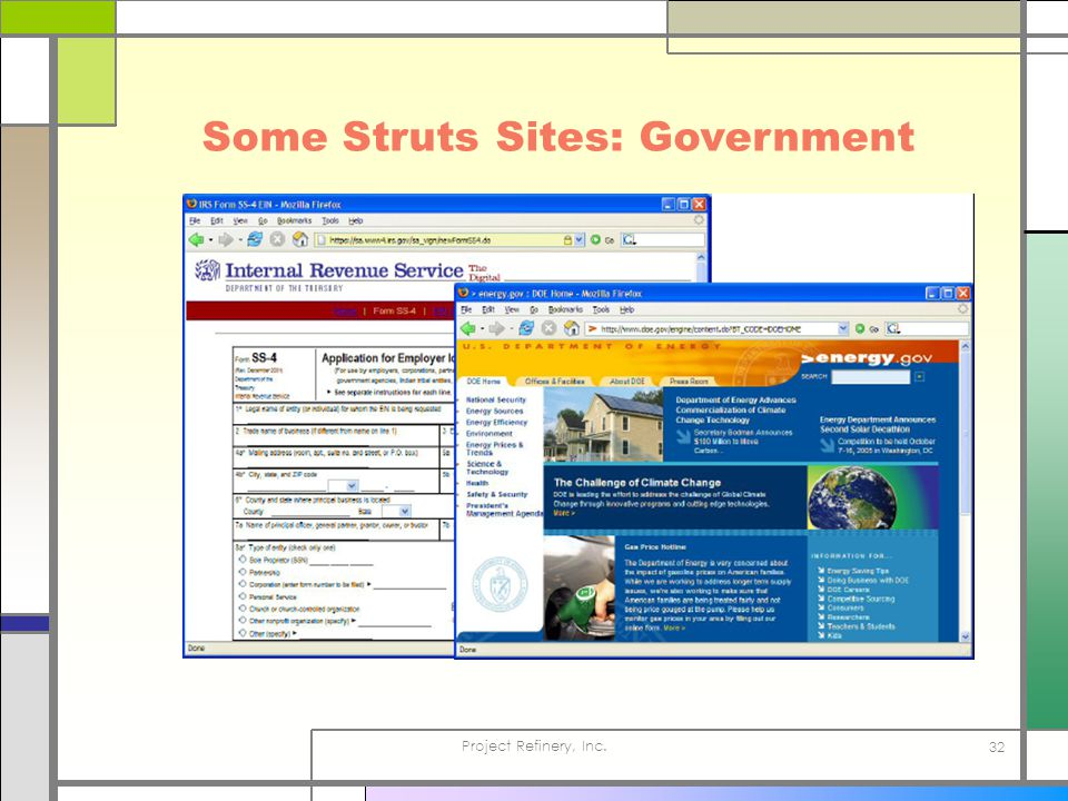 Project Refinery, Inc. 32 Some Struts Sites: Government
