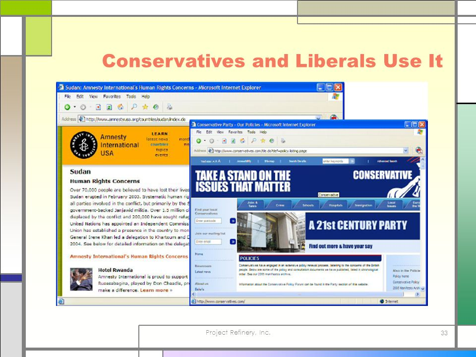 Project Refinery, Inc. 33 Conservatives and Liberals Use It
