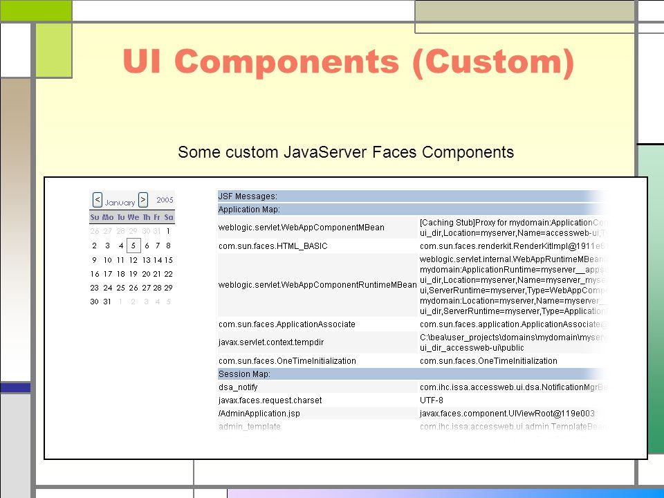 UI Components (Custom) Some custom JavaServer Faces Components